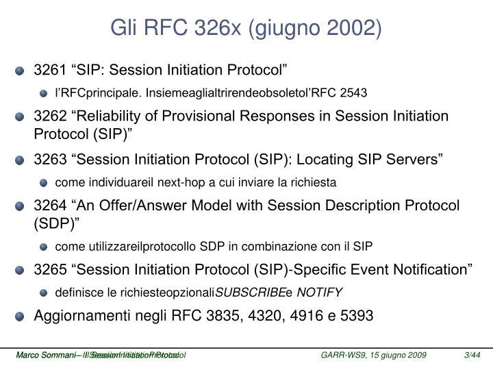 Gli RFC 326x (giugno 2002)