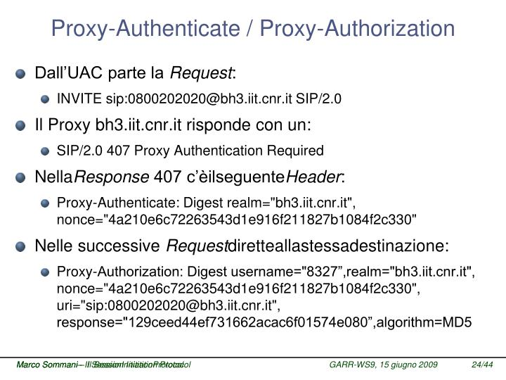 Proxy-Authenticate / Proxy-Authorization