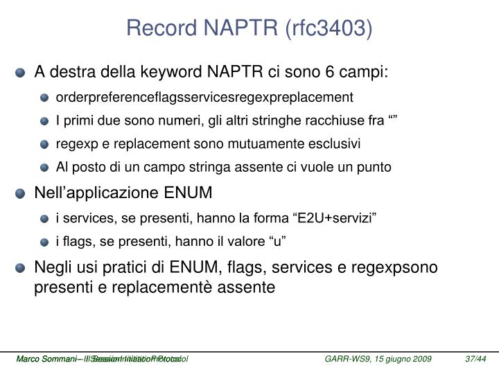 Record NAPTR (rfc3403)