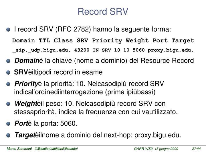 Record SRV