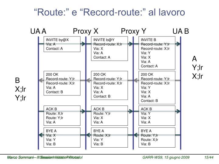 """""""Route:"""" e """"Record-route:"""" al lavoro"""