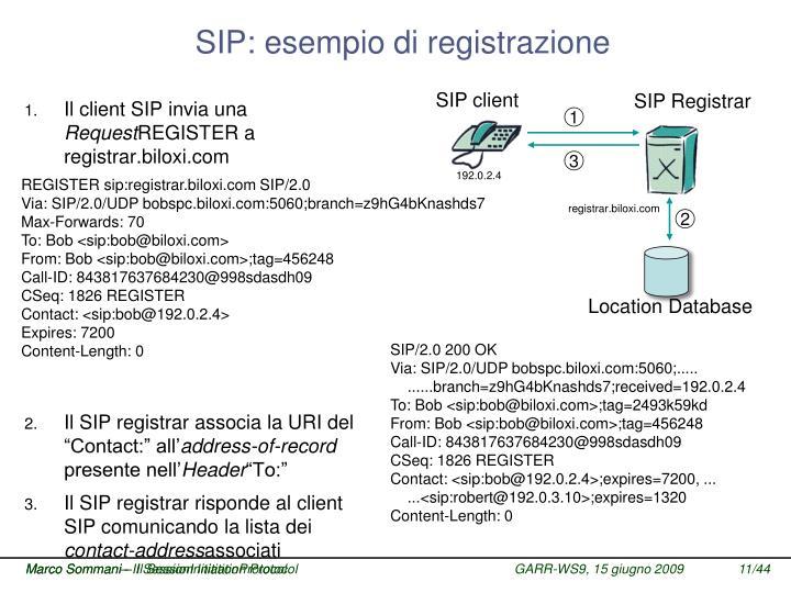 SIP: esempio di registrazione