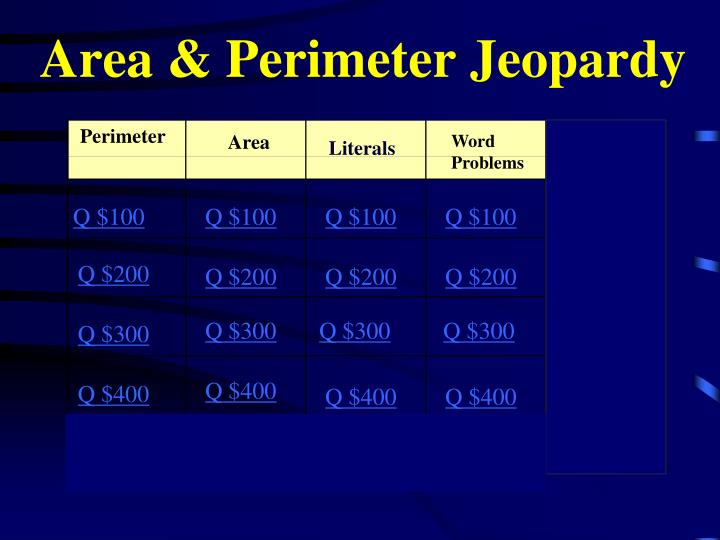 Area perimeter jeopardy