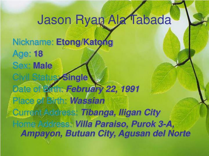 Jason Ryan Ala Tabada