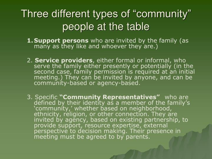 "Three different types of ""community"" people at the table"