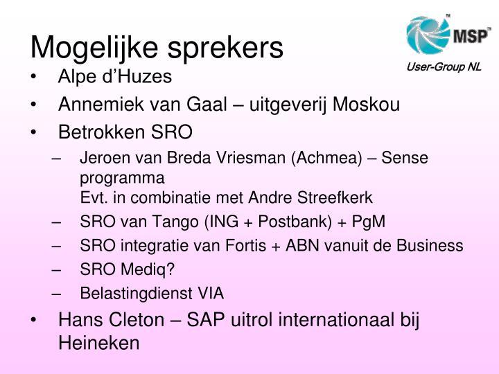 Mogelijke sprekers