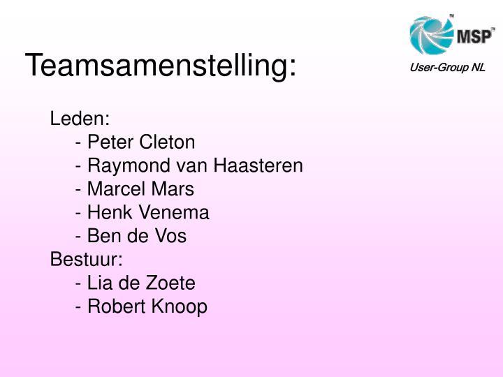 Teamsamenstelling: