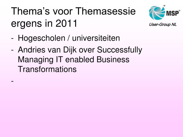 Thema's voor Themasessie
