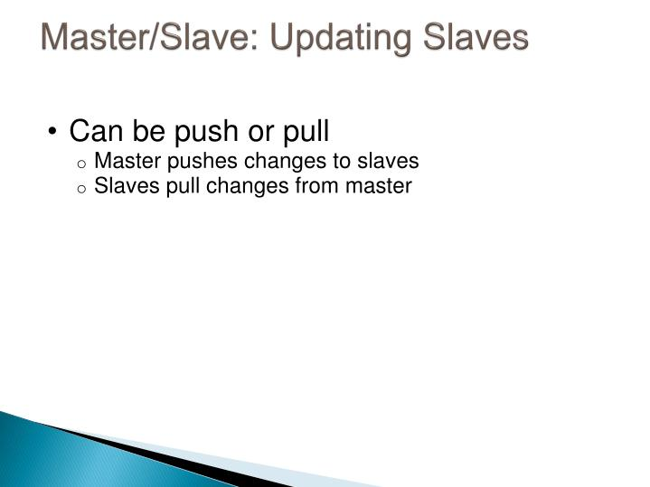 Master/Slave: Updating Slaves