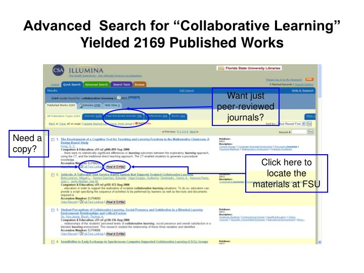 "Advanced  Search for ""Collaborative Learning"" Yielded 2169 Published Works"