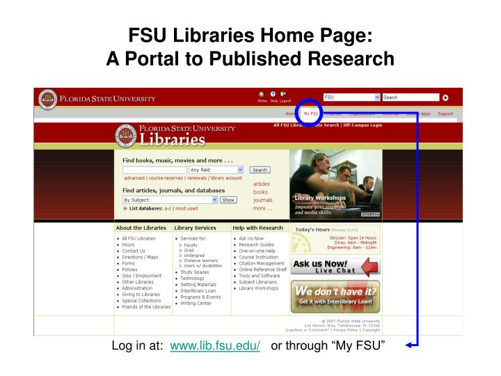 Fsu libraries home page a portal to published research