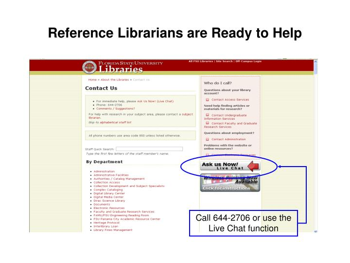 Reference Librarians are Ready to Help
