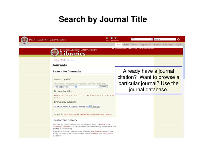 Search by Journal Title