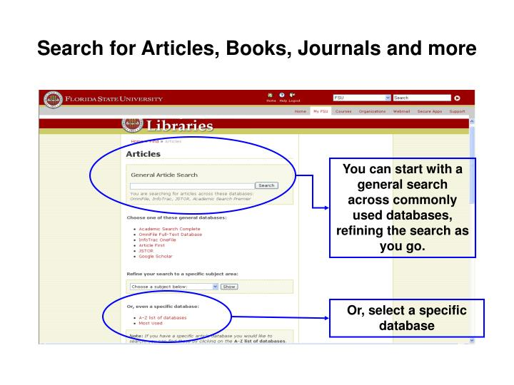 Search for articles books journals and more