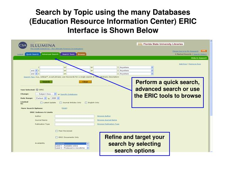 Search by Topic using the many Databases