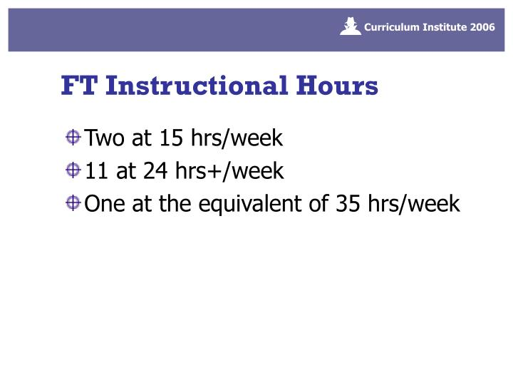 FT Instructional Hours