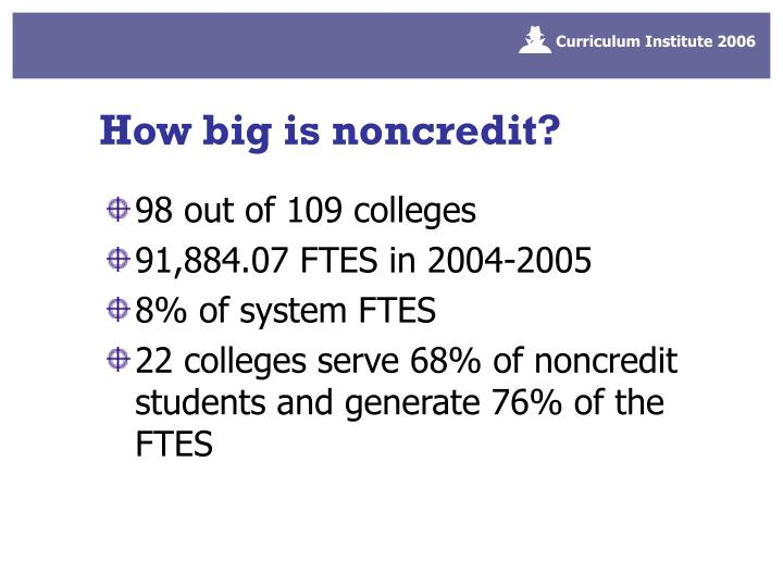 How big is noncredit?