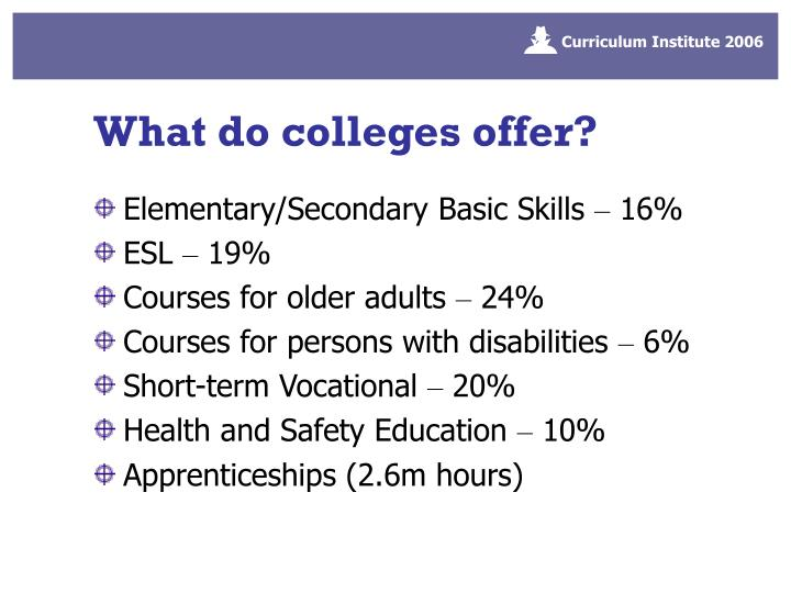 What do colleges offer?