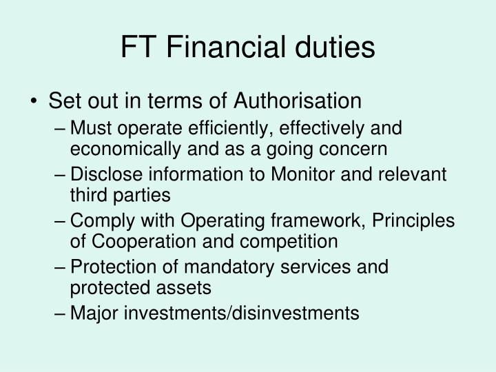 FT Financial duties