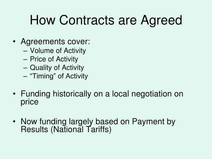 How Contracts are Agreed