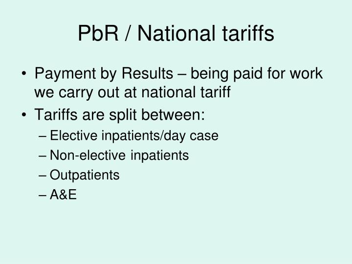 PbR / National tariffs