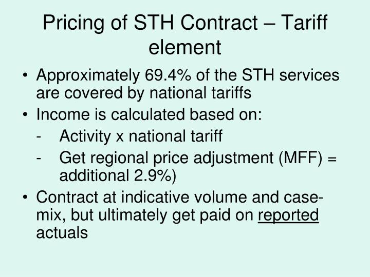 Pricing of STH Contract – Tariff element