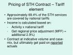 pricing of sth contract tariff element