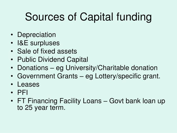 Sources of Capital funding
