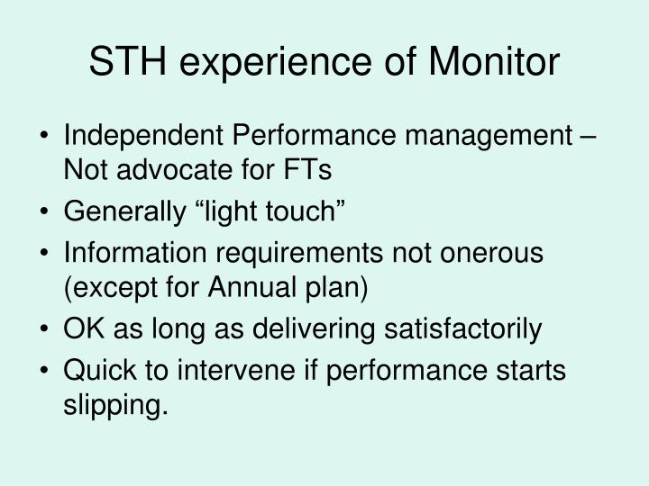 STH experience of Monitor