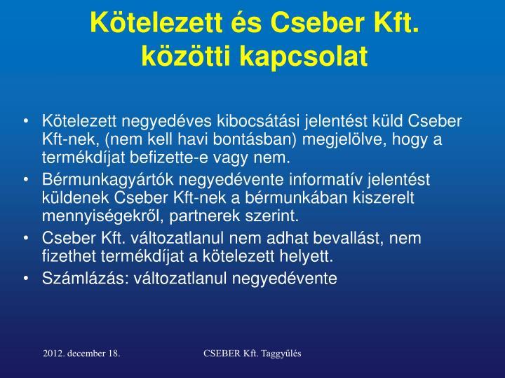 Kötelezett és Cseber Kft. közötti kapcsolat