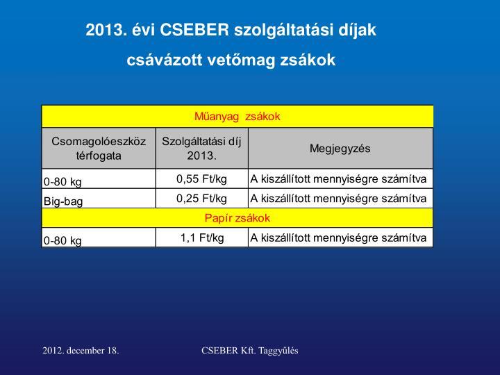 2013. évi CSEBER szolgáltatási díjak
