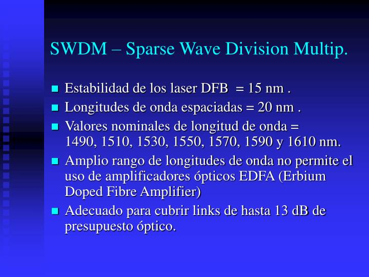 SWDM – Sparse Wave Division Multip.