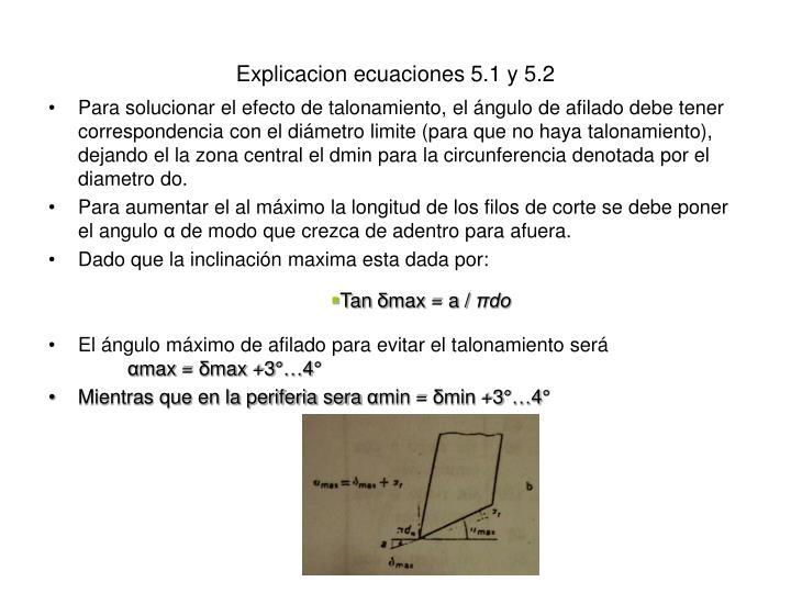 Explicacion ecuaciones 5.1 y 5.2