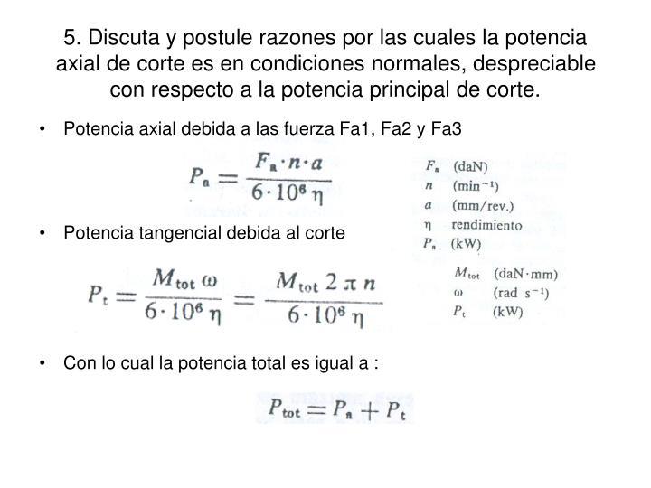 5. Discuta y postule razones por las cuales la potencia axial de corte es en condiciones normales, despreciable con respecto a la potencia principal de corte.