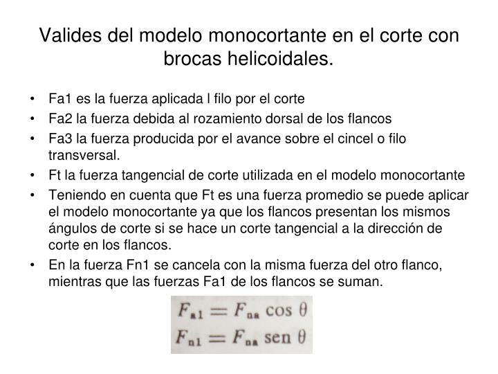 Valides del modelo monocortante en el corte con brocas helicoidales.