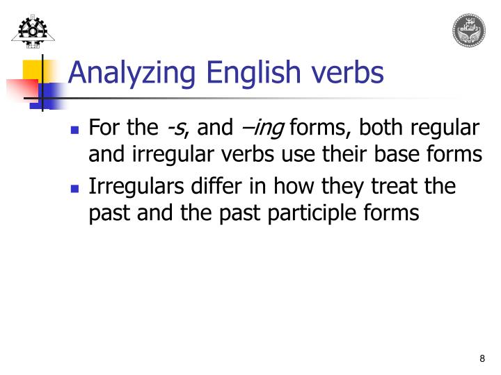 Analyzing English verbs