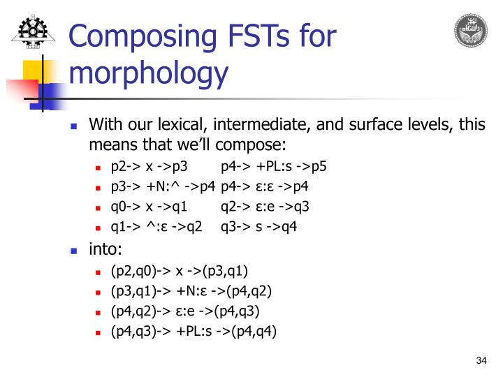Composing FSTs for morphology