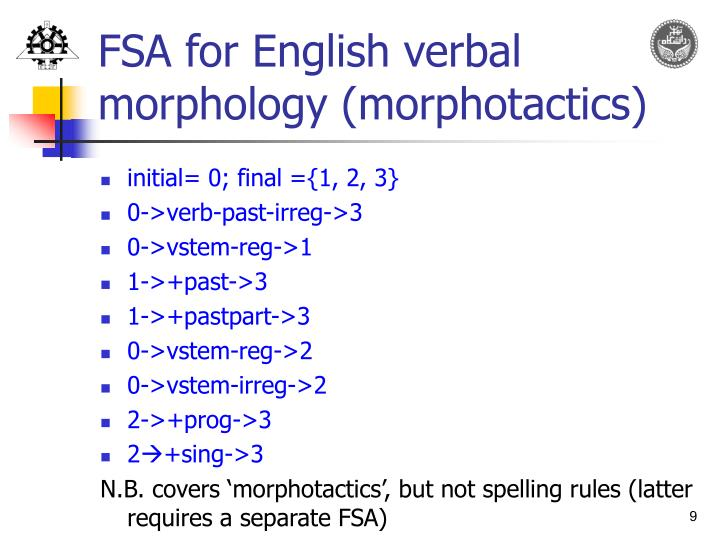 FSA for English verbal morphology (morphotactics)