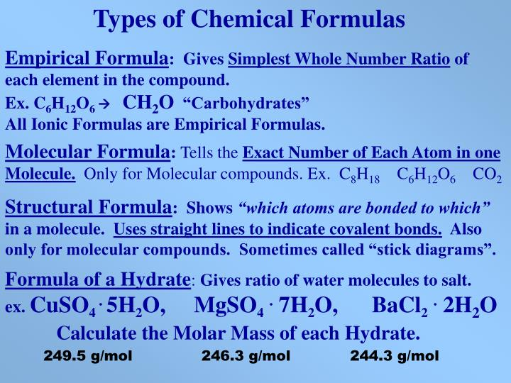 Types of Chemical Formulas