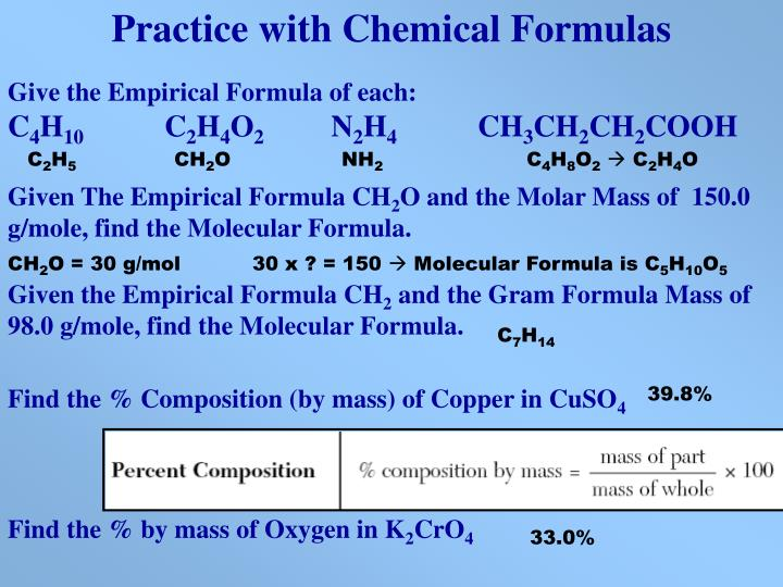 Practice with Chemical Formulas