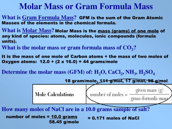 Molar Mass or Gram Formula Mass