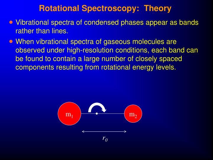 Rotational Spectroscopy:  Theory