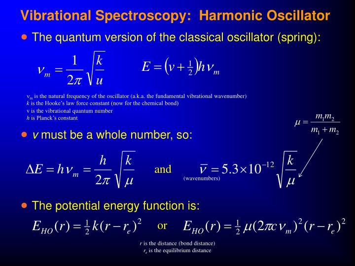 Vibrational Spectroscopy:  Harmonic Oscillator