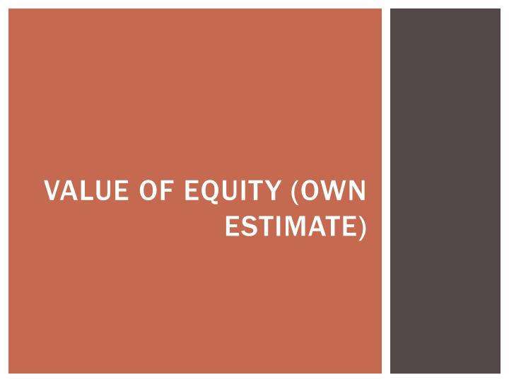 Value of equity (own estimate)