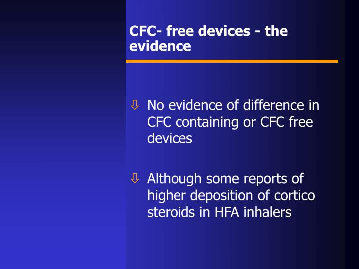 CFC- free devices - the evidence
