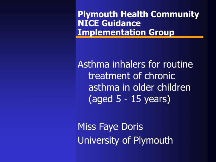 Plymouth health community nice guidance implementation group