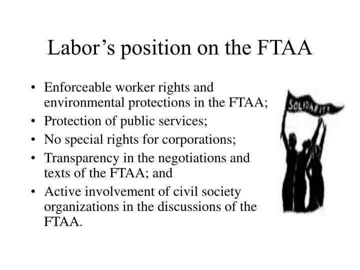 Labor's position on the FTAA
