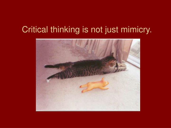 Critical thinking is not just mimicry.