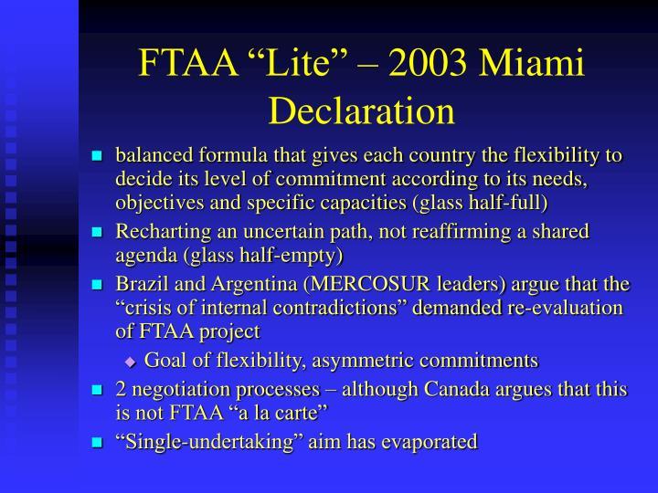 "FTAA ""Lite"" – 2003 Miami Declaration"