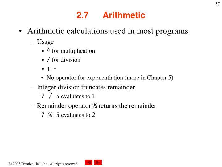 2.7      Arithmetic